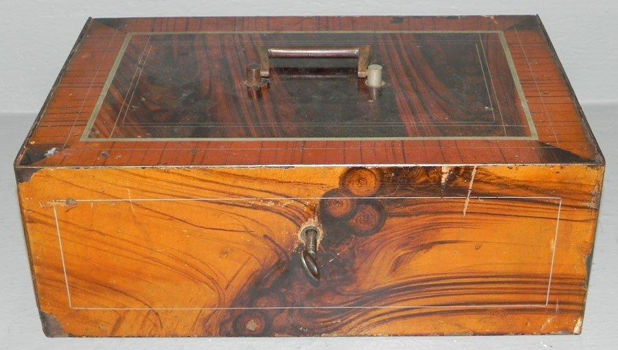1: Grain painted iron lock box.