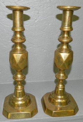 5: Pr. King of Diamond brass candlesticks.