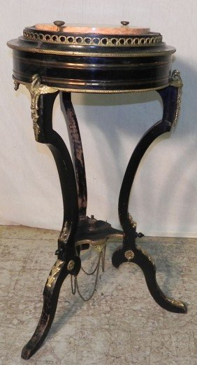 9: French marble top & bronze mounted fern stand.
