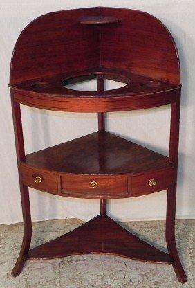 13: Period mahog. bow front corner wash stand