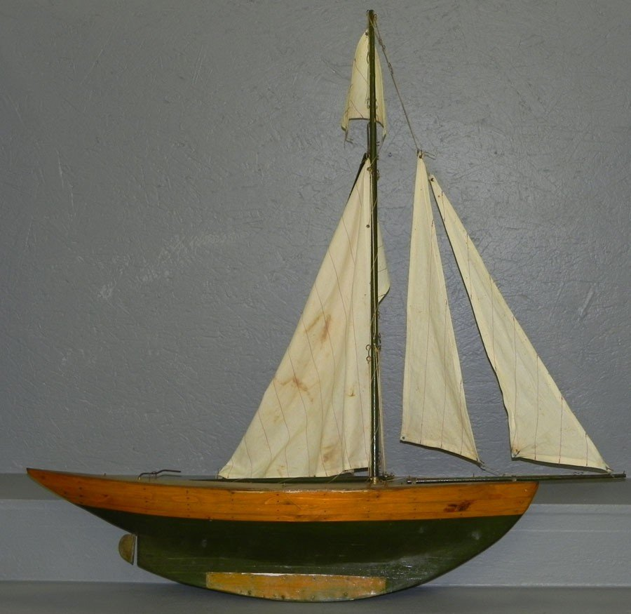 """15: Early sailing ships model. 41"""" long x 41"""" h."""