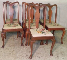 18: 7 needlepoint Q. Anne mahog. dining chairs.