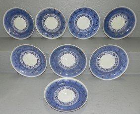19: 8 blue & white Oriental plates,.