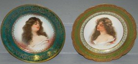 21: Pr. hand painted beehive Austrian plates signed