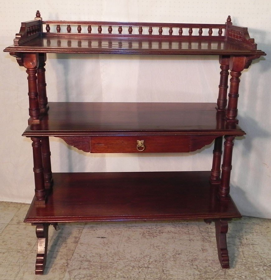 24: Walnut 3- tiered Victorian dumbwaiter.