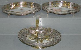 126: 2 silver plate gallery trays & 1 silver plate bask