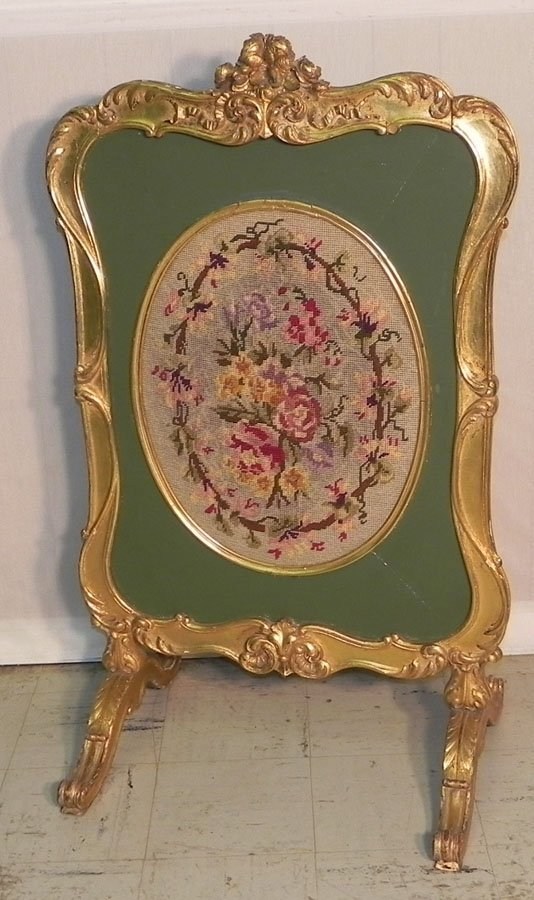 1: 19th c. gold dec. & needlework fire screen.