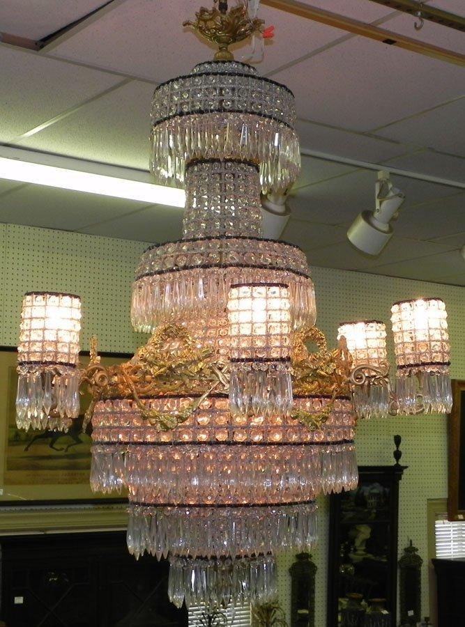 1A: Lrg crystal & bronze chandelier.