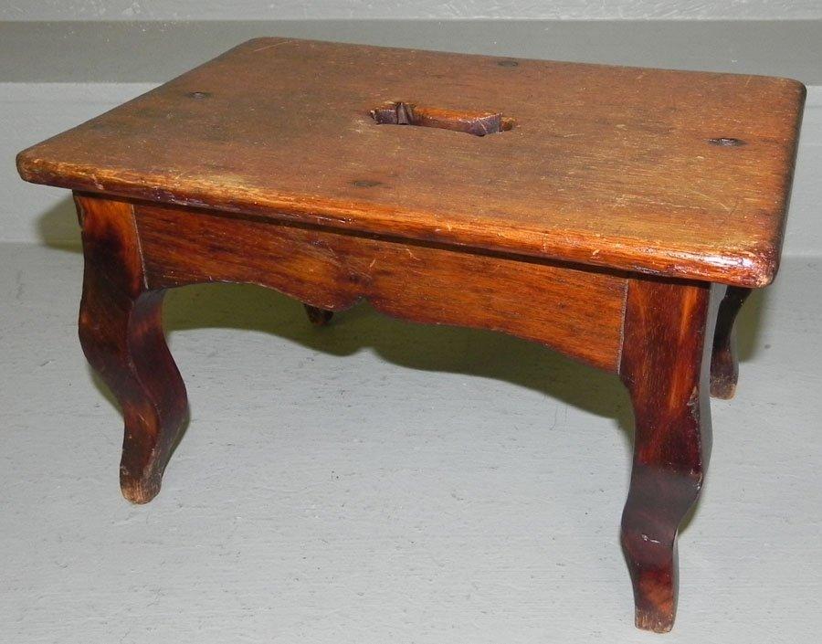 3: Mahogany cabriole leg French stool.