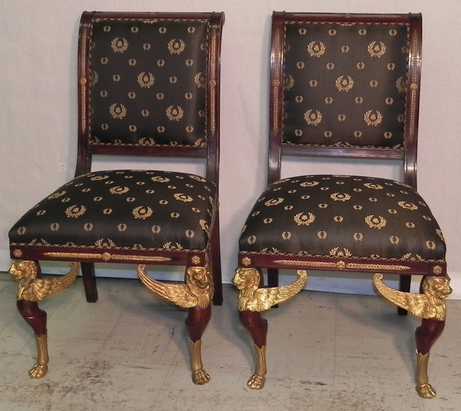 5: Pr bronze mounted French style mahog. chairs.