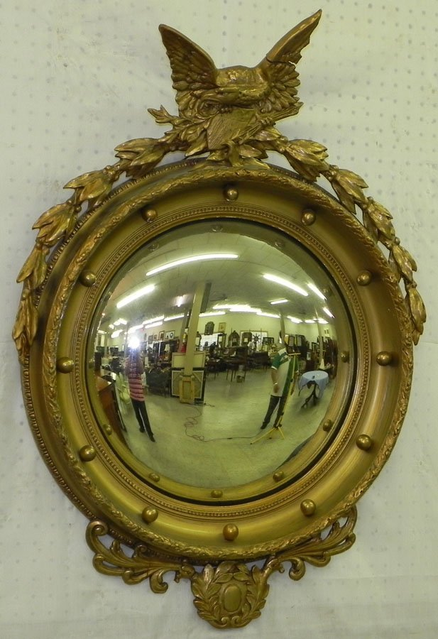 17: Mid/ late 19th c. bulls eye mirror w/ full eagle