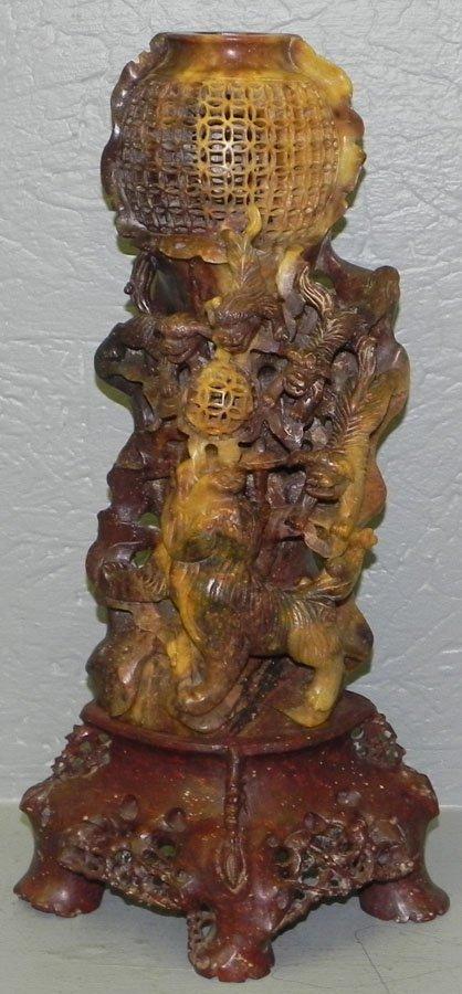 "19: 16"" soapstone carved figure w/ Foo dogs."