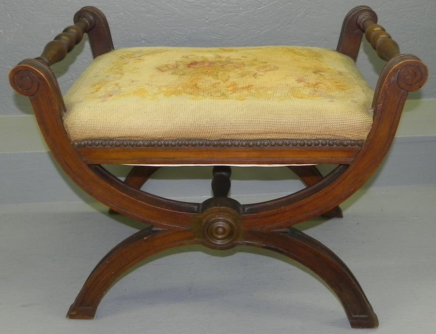 22: Mahog needlepoint seat Regency music bench.