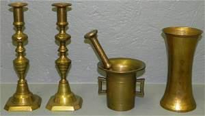 54 Pr 19th c brass csticks mortar  pestle vase