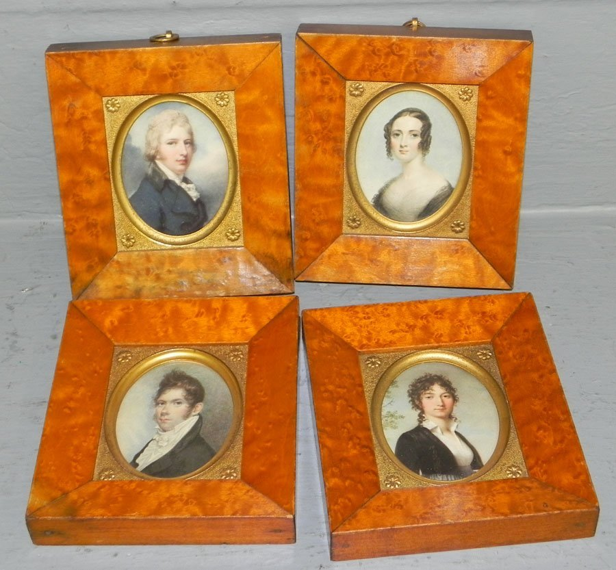 444: (4) birds eye maple framed miniature portraits.