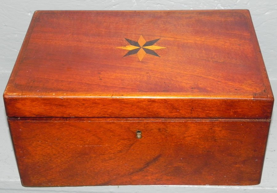 1: Mahogany inlaid fitted dresser box.