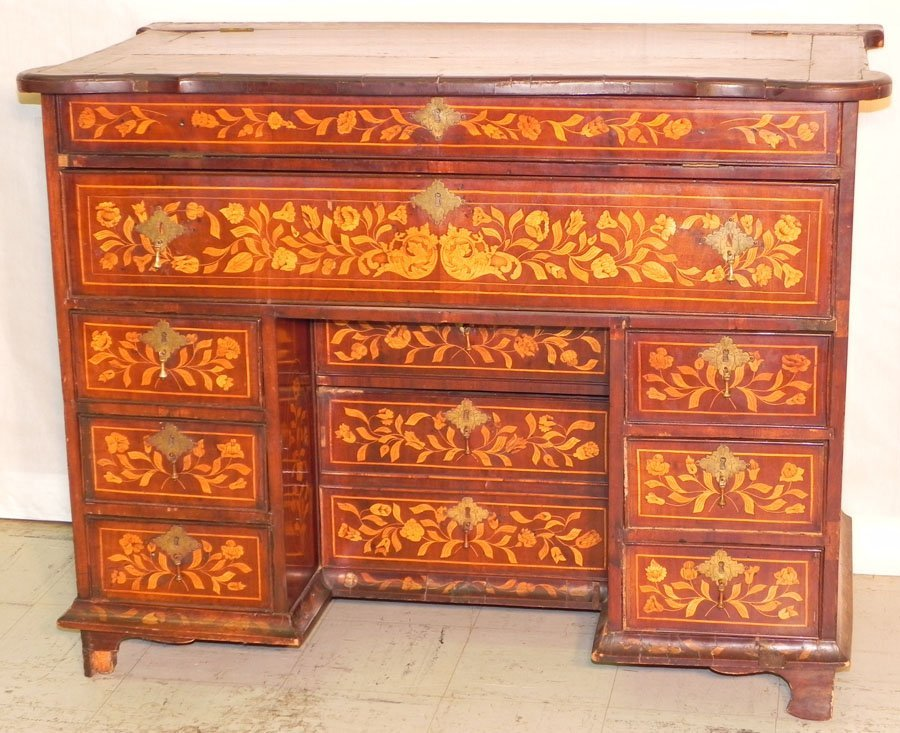 5: 18th c. marquetry inlaid ladies desk w/ mat. int.