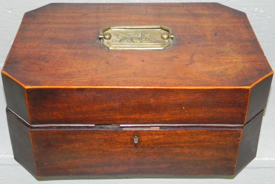 6: Mahogany inlaid fitted box w/ antique pull.