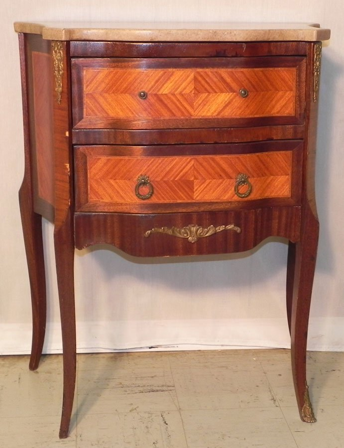 14: French marble top 2 drawer commode.