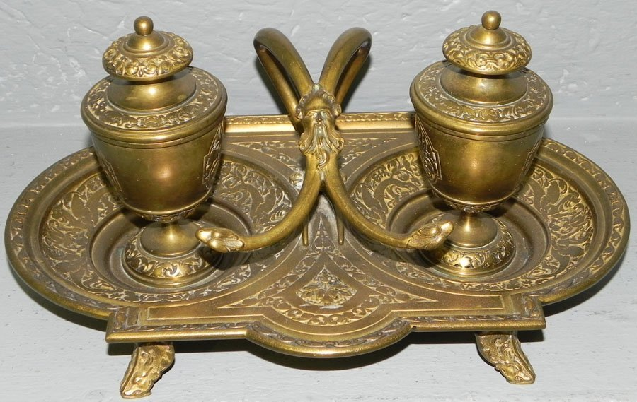 21: Max Hartmann #13623 early cast brass inkwell.