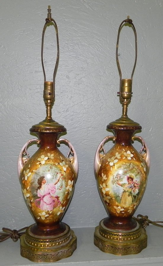 22: Pr. signed h. p. vases converted into lamps.