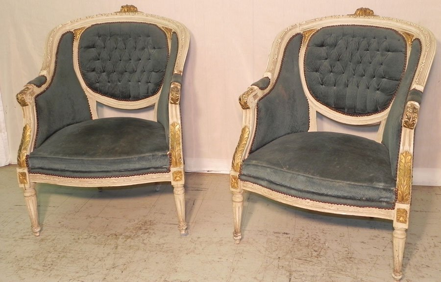 24: Pr. diamond tufted back gilded French arm chairs