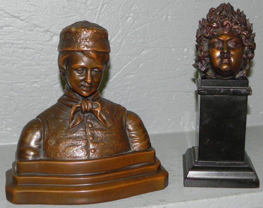"153: Brnz Louis XIV Apollo & brnz sculpt ""Dutch Boy"""