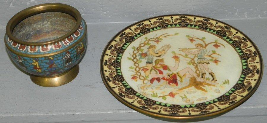 180: Cloisonne jardiniere & cloisonne w/stone plate.