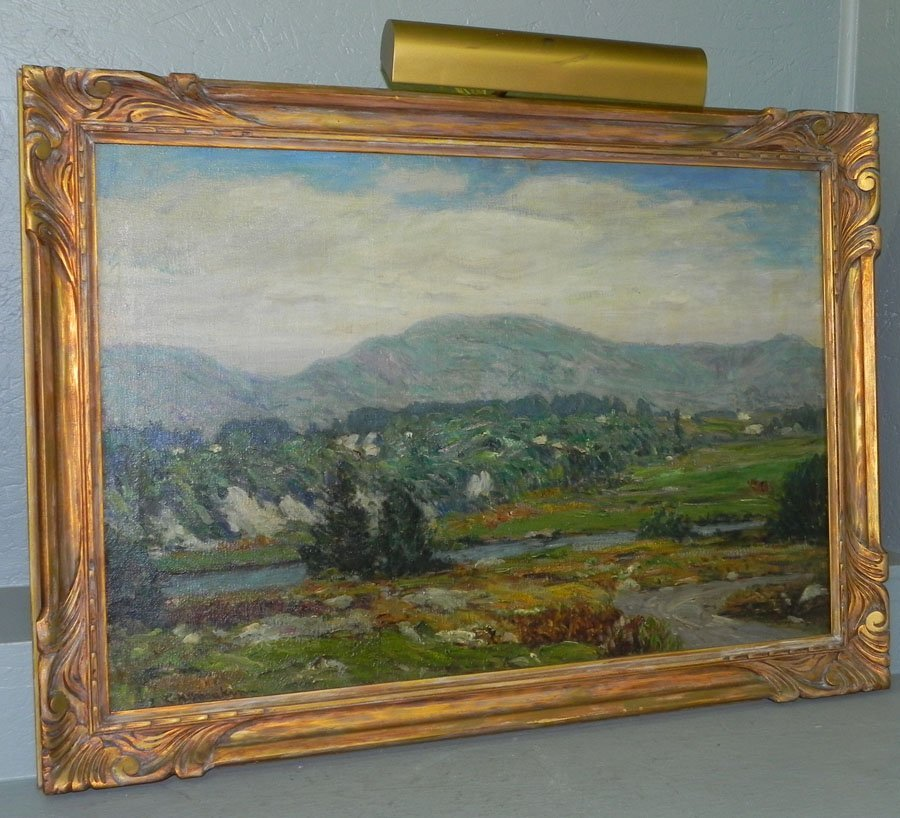 """310: OOC of mountain & river scene.  """"L.H. Meakins""""."""