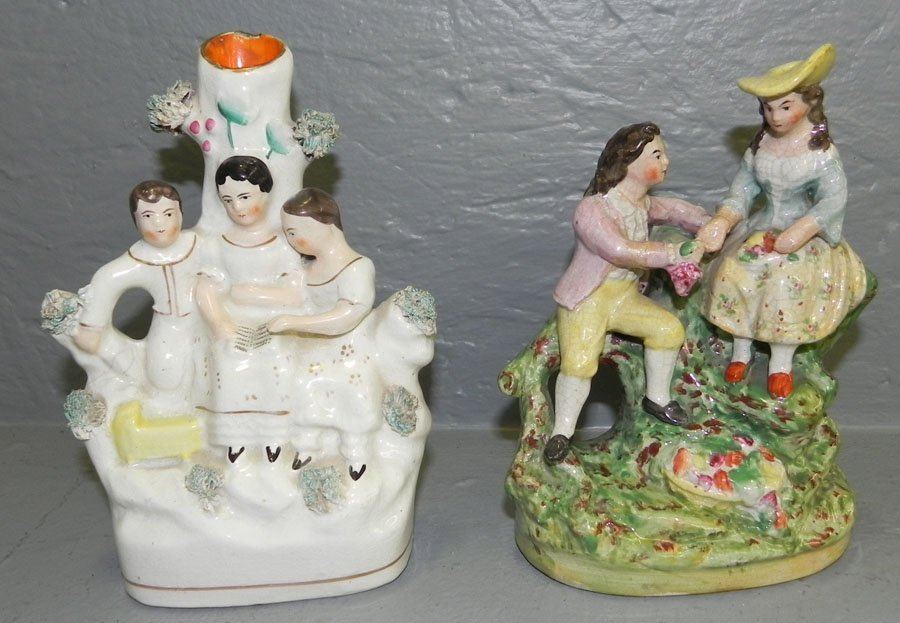 1: (2) 19th c. Staffordshire figurines.