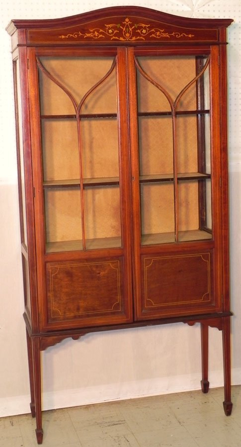 4: Mahog. Edwardian china cabinet.