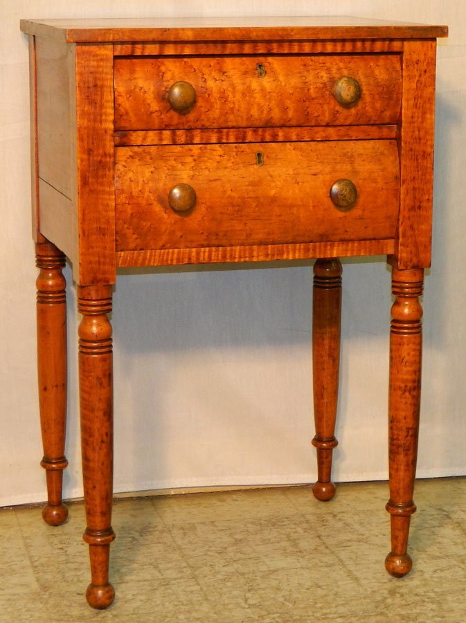 7: 19th c. birdseye maple end table w/ turned legs.