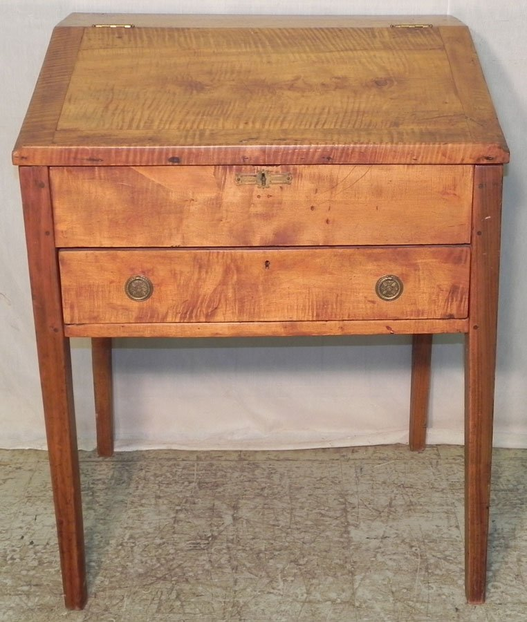 8: 19th c. tiger maple schoolmasters desk.