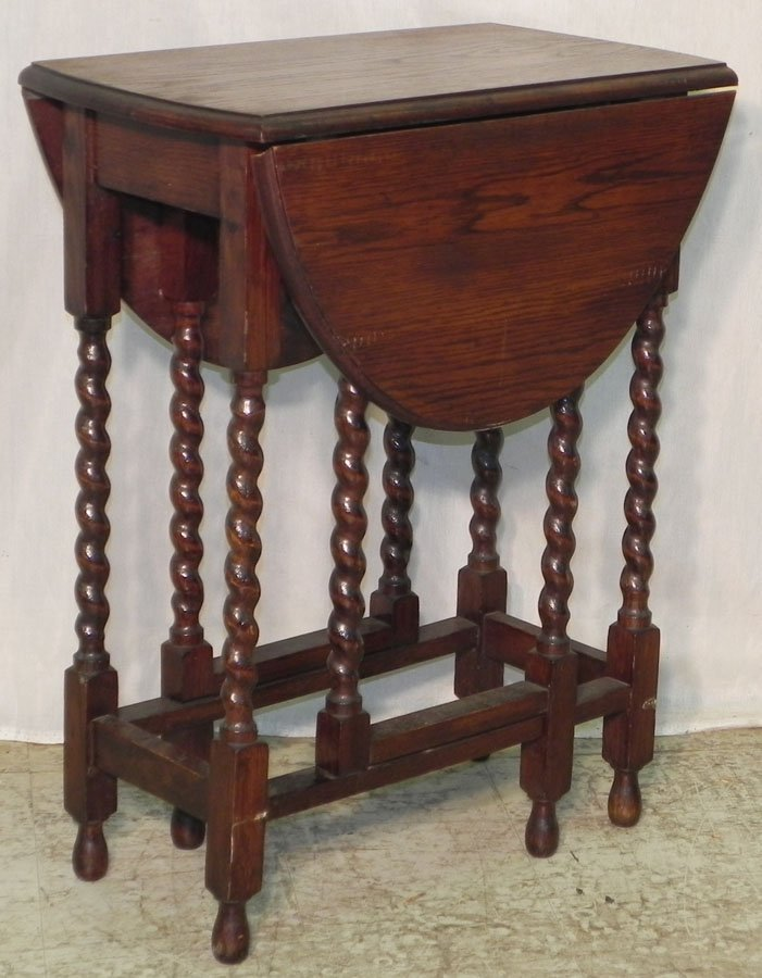 17: Petite barley twist gate leg table.