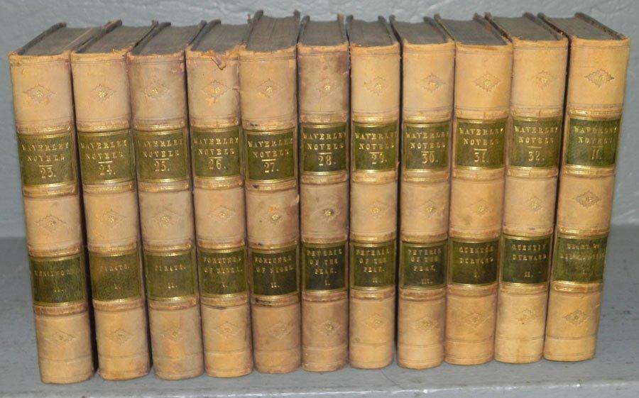 "176: 11 qrtr leath. bound books ""The Waverly Novels"""