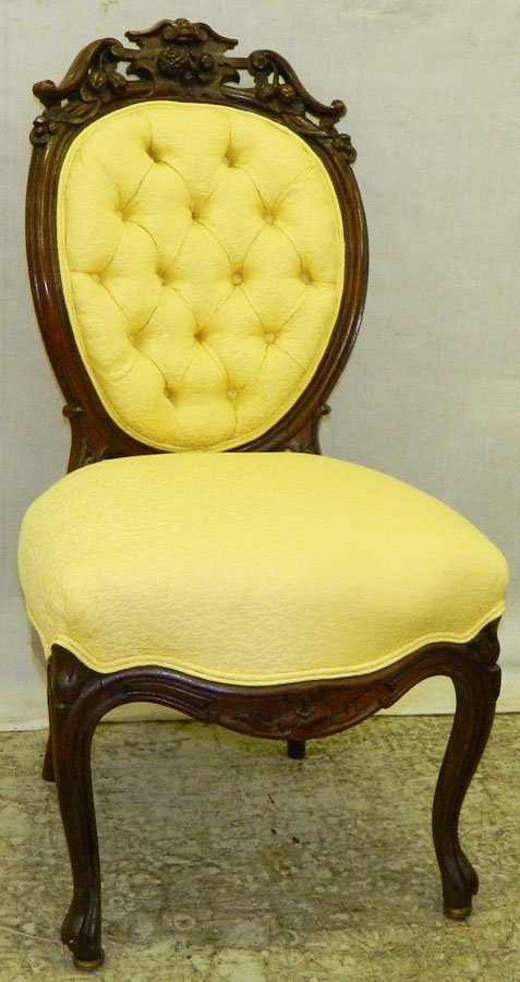 4: Carved tufted back rosewood Victorian side chair.