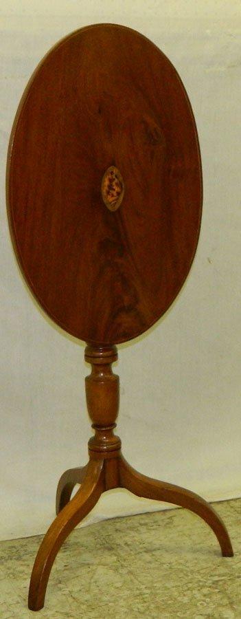 5: Mahogany conch shell inlay tilt top tea table.