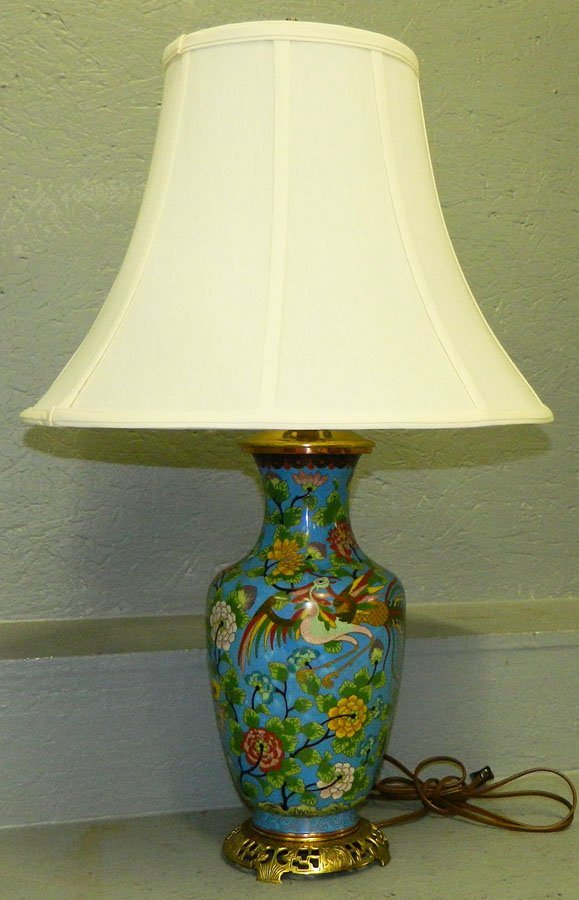 """7: 19th century cloisonne lamp. 27"""" tall with harp."""