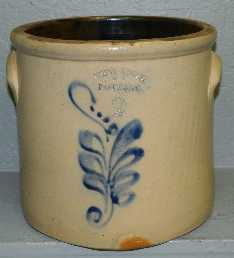 """19: West Troy, NY  blue decorated crock. 9 1/4"""" tall."""