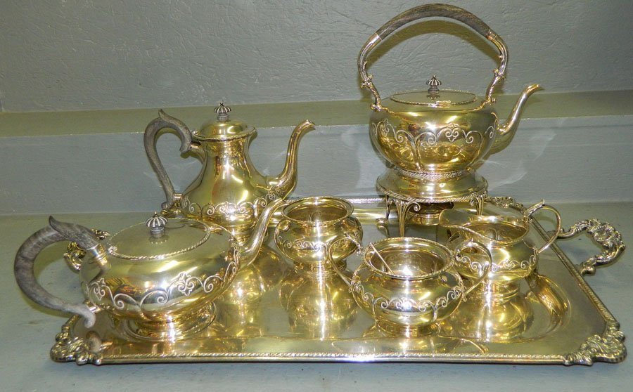 632: 7 pc. sterling tea service with tray. 310 t.o.