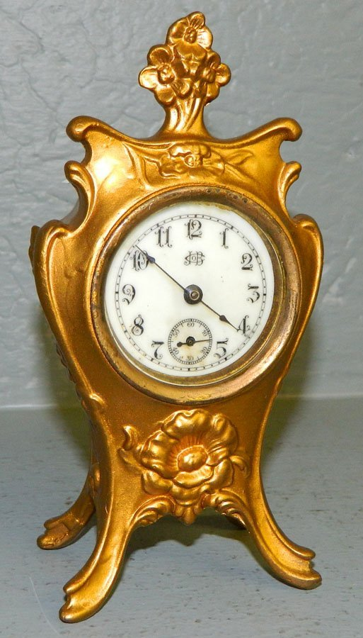 21: Gold gilt 1 day  American Jennings Bros. clock.