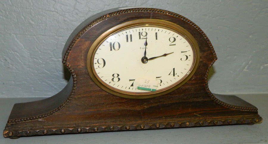 25: 8 day French head & shoulder clock w/beading.