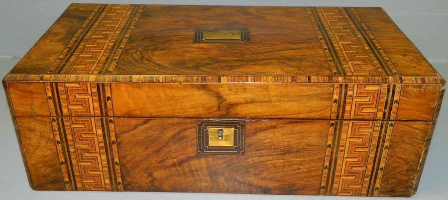 """1: Burl walnut inlaid lap desk. 19 3/4"""" x 10"""" x 7""""."""