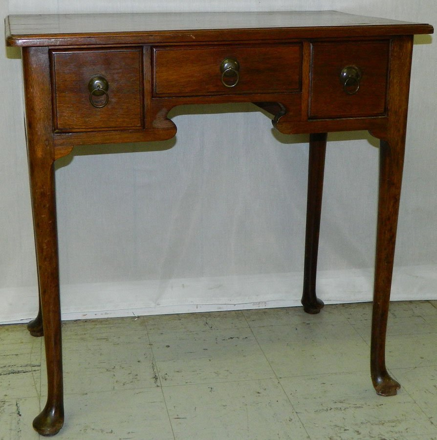 2: 18th c. mahogany QA 3 drawer low boy