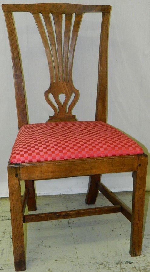 5: 18th c. elm Chipp. stretcher base side chair