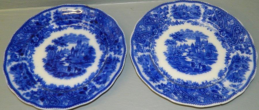 "14: 2 Flow blue Middleport pottery plates. 10"" dia."