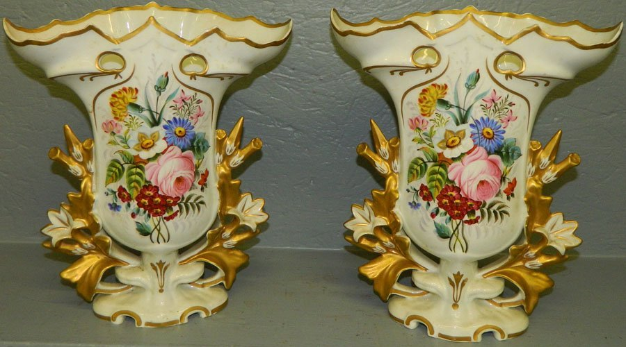 """22: Pair of hand painted Old Paris vases. 12"""" tall."""
