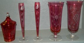 5: (4) Ruby red vases and one covered candy dish