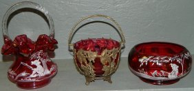 7: 2 pcs Mary Gregory & cranberry dish/metal basket