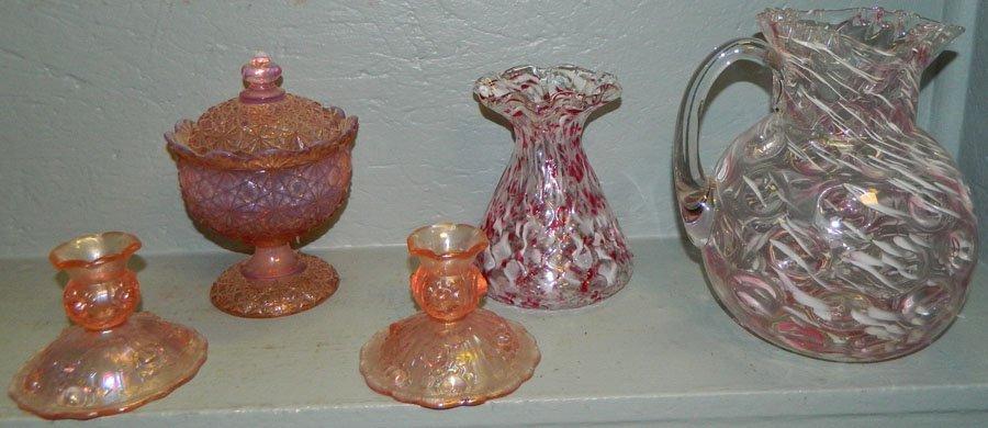 10: Art glass pitcher, vase, opalescent c/sticks, dish